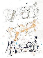 Three Reclining Figures Ink and Watercolor Drawing 1962 11x9 HS Works on Paper (not prints) by Henry Moore - 0