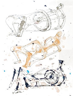 Three Reclining Figures Ink and Watercolor Drawing 1962 11x9 Works on Paper (not prints) - Henry Moore