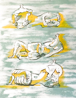 Figures Allongees 1971 Limited Edition Print - Henry Moore