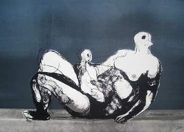 Reclining Mother And Child With Blue Background 1983 Limited Edition Print by Henry Moore