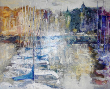 Puerto De Tarde 2006 31x39 Huge Original Painting - Aracely Alarcon Morales