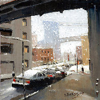It is Snow 2020 7x7 Original Painting by Victor Mordasov - 1