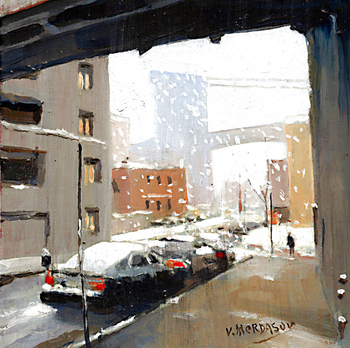 It is Snow 2020 7x7 Original Painting by Victor Mordasov