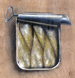 Sardines in a Can on Wood 2015 12x12 Original Painting - Victor Mordasov
