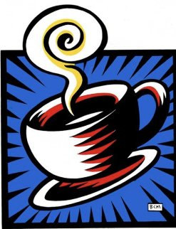 Coffee Cup  Blue 1998  Limited Edition Print - Burton Morris