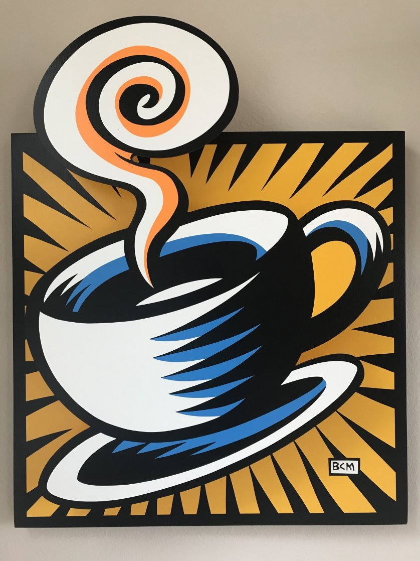 Coffee Cup State III Yellow 2001 Limited Edition Print by Burton Morris