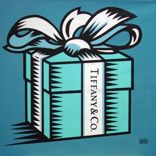 Little Blue Box 2008 30x30 Original Painting - Burton Morris