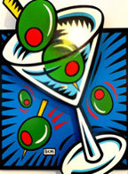 Martini State 111 (Blue) 2000 3-D  on Wood Limited Edition Print by Burton Morris - 0