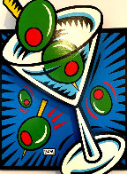 Martini State 111 (Blue) 2000 3-D  on Wood Limited Edition Print by Burton Morris - 2