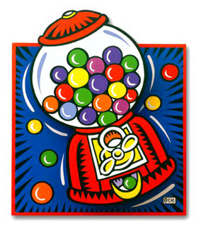 Gumball Pop Up on Wood 1999 28x24 Original Painting - Burton Morris