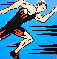 Runner 2002 16x14 Original Painting by Burton Morris - 0