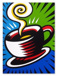 Coffee Cup 2010 40x30 Huge Original Painting - Burton Morris