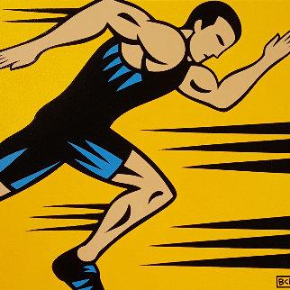 Runner 16x14 Original Painting - Burton Morris