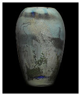 Petroglyphs (vase and 3 Stepping Stones Glass Sculpture) 1986 Sculpture by William Morris - 0