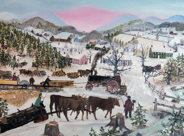 Steam Drive Saw Mill 1993 13x15 Original Painting by Will Moses