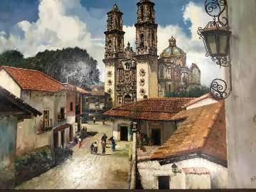 Taxco Mexico 1970 40x50 Super Huge Original Painting - Fil Mottola
