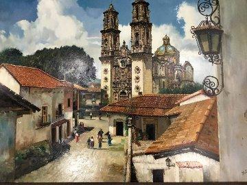 Taxco Mexico 1970 40x50 Super Huge Original Painting - Fil Mottola