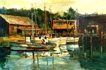 Water Front 1963 30x42 Original Painting - Fil Mottola