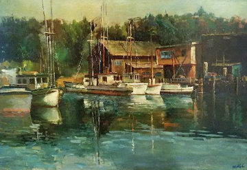 Boats At Noyo 1963 30x41 Original Painting - Fil Mottola