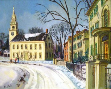 Winter in Massachusetts, New England 11x14 Original Painting by Fil Mottola