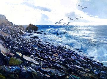 Sparking Sea 1970 40x50 Huge Original Painting - Fil Mottola