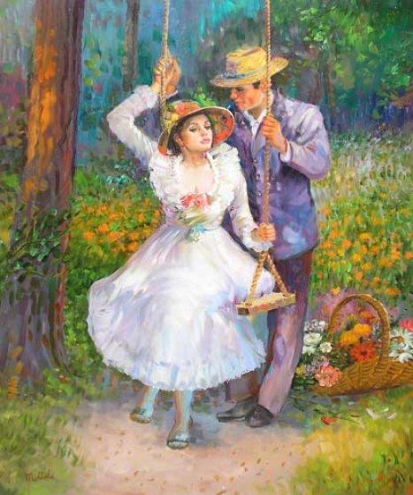Untitled Nostalgic Couple 40x30 Original Painting by Fil Mottola