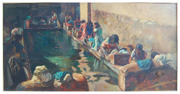 Village Laundry 24x48 Huge Original Painting - Fil Mottola