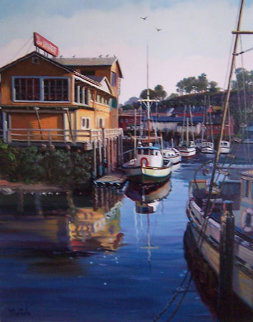 Untitled California Harbor 1980 32x28 Original Painting - Fil Mottola