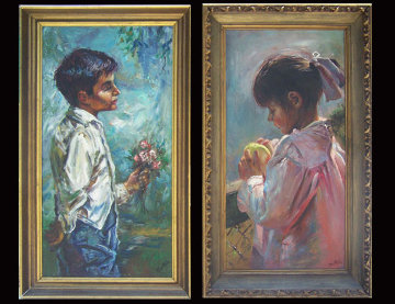 Blue Boy and Pinkie 1966 Set of 2 30x30 Original Painting - Fil Mottola