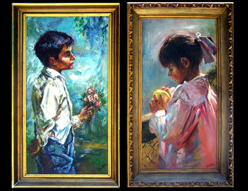 Blue Boy and Pinkie 1966 Set of 2 30x30 Original Painting by Fil Mottola