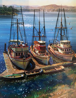 Fishing Boats At Morrow Bay, California  30x25 Original Painting - Fil Mottola