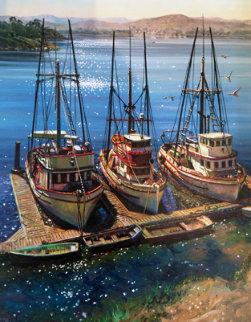 Fishing Boats At Morrow Bay, California  30x25 Original Painting by Fil Mottola