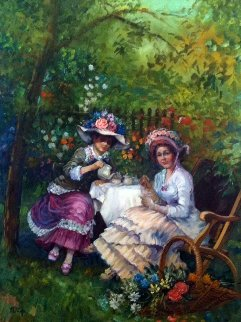 Afternoon Tea 1960 45x35 Original Painting - Fil Mottola