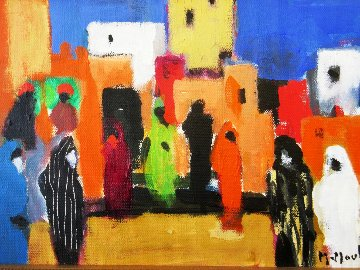 Place Aux Herbes a Marrakech 2004 10x15 Original Painting by Marcel Mouly