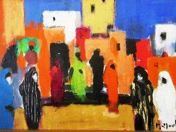 Place Aux Herbes a Marrakech 2004 10x15 Original Painting - Marcel Mouly