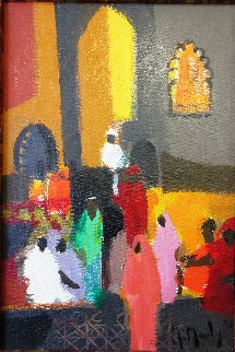 Indous Dans Le Temple 1987 12x15 Original Painting - Marcel Mouly