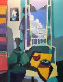 La Fenetre Grecque 2002 45x55 Original Painting - Marcel Mouly