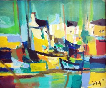 Port Aux Maisons Jaunes (Harbor of Yellow Houses) 1990 27x31 Original Painting by Marcel Mouly