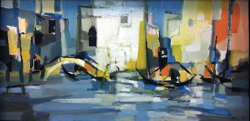 Venise Matin, Lumire Blanche (Venice Morning, White Light) 1959 20x34 Original Painting - Marcel Mouly