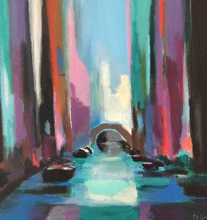 Blu Venice 2003 46x46 Huge Original Painting - Marcel Mouly