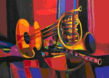Guitar And Horn in Harmony 2004 Limited Edition Print - Marcel Mouly