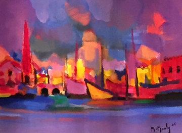 La Ville Rose 2005 15x21 Original Painting - Marcel Mouly