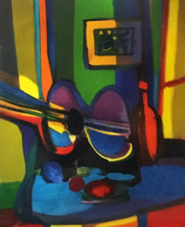 Guitare Et Bouteille 2007 Limited Edition Print - Marcel Mouly