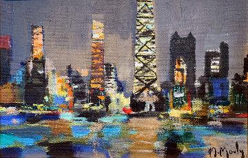 Chicago Le Soir 1994 16x20 Original Painting - Marcel Mouly