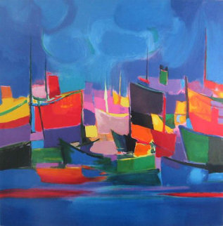 Le Port Bleu Aux Limited Edition Print - Marcel Mouly