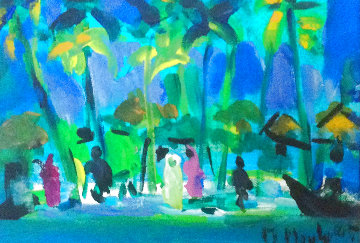 Antillaise original acrylic 17x20 in Original Painting - Marcel Mouly