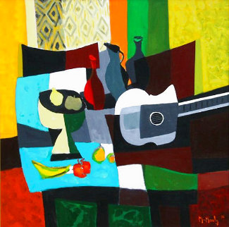 Guitare Compotier Nappe Bleue 1995 Limited Edition Print - Marcel Mouly