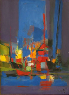 Untitled Harbor 1986 29x22 Original Painting by Marcel Mouly