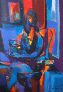 Jeune Femme Au Geuribon 1971 16x11 Original Painting - Marcel Mouly