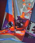 Regates De Nuit 1992 Original Painting - Marcel Mouly
